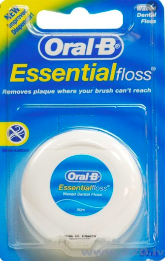 ORAL B zobu diegs ar vasku Essential Floss, 50m